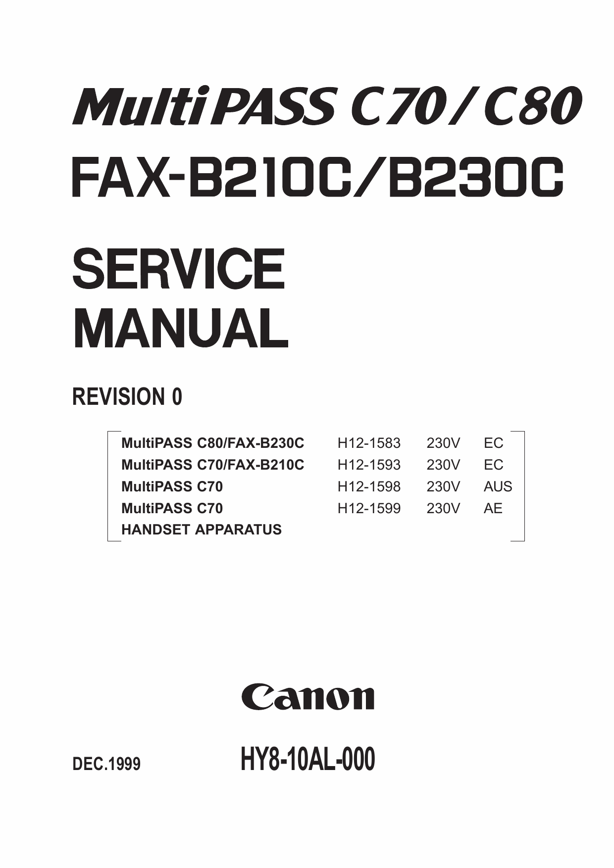 Canon FAX MultiPass-C70 C80 B210C B230C Parts and Service Manual-1